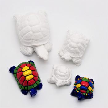 Gipsfigur / Tierfigur Schildkröte zum bemalen, aus Gießmasse, in verschiedenen Größen